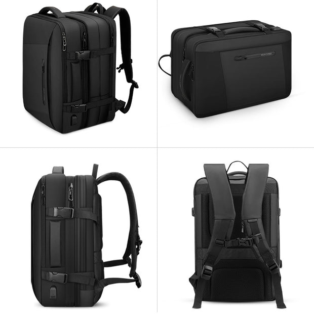 Multiple views of Inside of Mark Ryden expandable travel backpack - INFINITY XL.