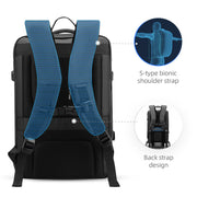 Ergonomic straps of Inside of Mark Ryden expandable travel backpack - INFINITY XL.