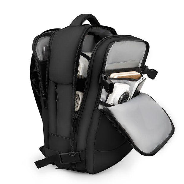 Open view of Mark Ryden Nomad usb charging travel backpack.