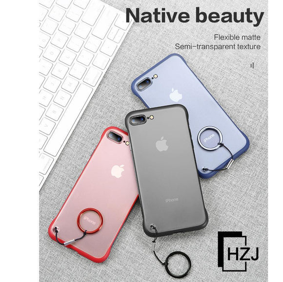 Frameless Transparent Matte Hard Phone Case For iPhone X 7 6 6S 8 Plus  XS Max XR With Finger Ring Cases