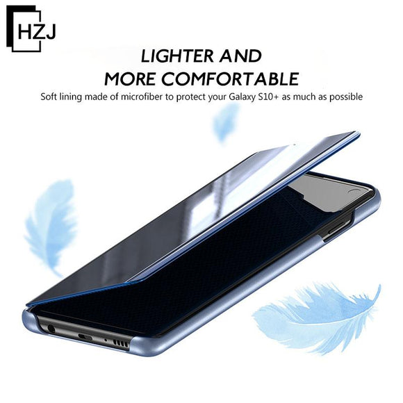 The fourth generation of electroplating mirror smart flip vertical leather case phone case HUAWEI Mate20/20Prp/Lite/HUAWEI P30/P30Pro/P30Lite/Nova4e/Mangman 7