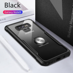 Shockproof Airbags With Ring Phone Case Transparent Silicone Protective Case for Samsung S8/S8Plus S9/S9Plus Note8 Note9