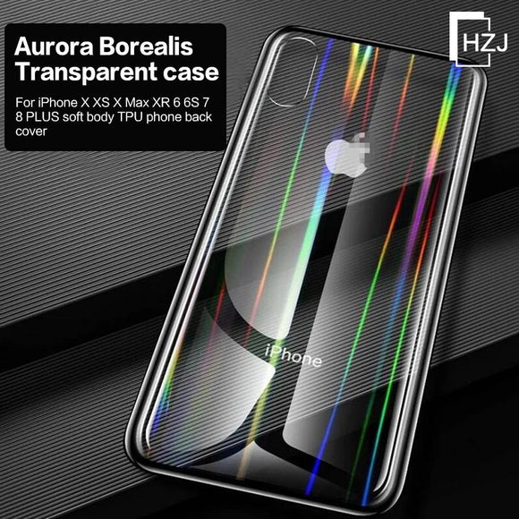 Aurora Borealis transparent case for iPhone X XS X Max XR 6 6S 7 8 PLUS soft body TPU phone back cover