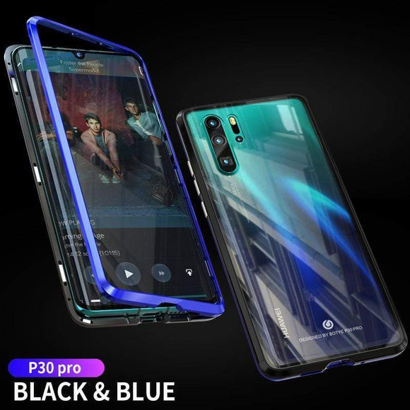 Luxury Metal Magnetic Adsorption Frame Clear Tempered Glass Phone Cases For HUAWEI P30/P30pro/P30lite