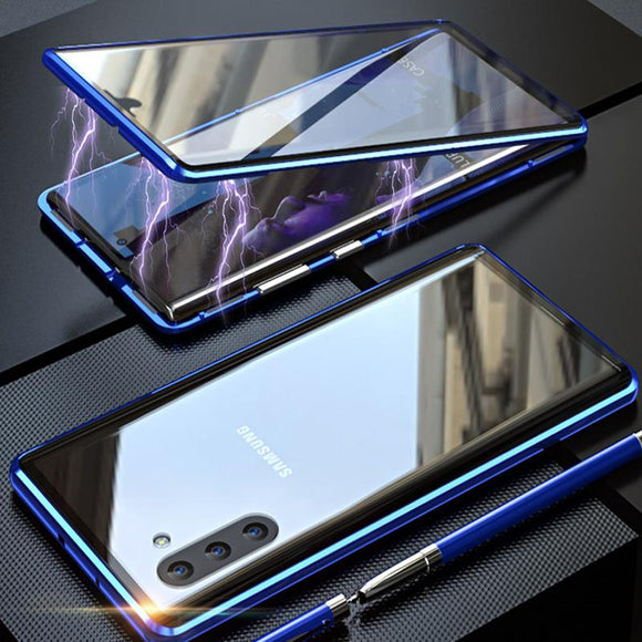 Magnetic Adsorption Transparent Tempered Glass Two side Glass Cover Phone Case For Samsung Note10/Note10Pro