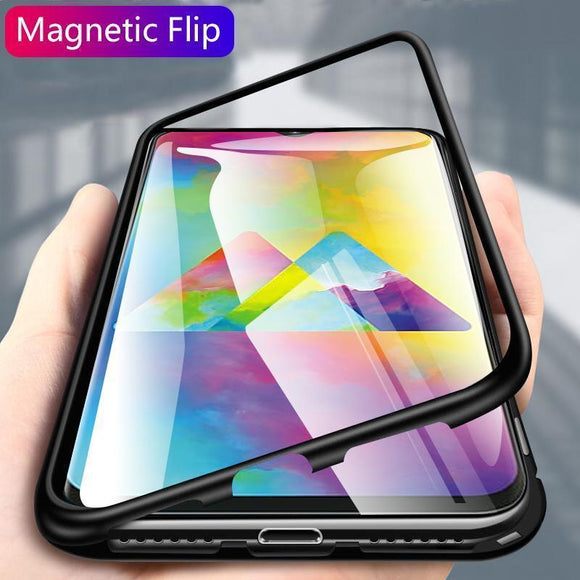 Luxury Hard Magnetic Metal Aluminum Alloy Transparent Glass Armor Protect Phone Case for Samsung M10 M20