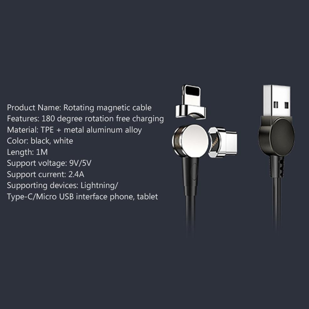 USB 180 degree rotation magnetic cable to fast charging sync
