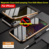 Luxury Full Body Protective Magnetic Case Anti-peeping  Two Side Glass Cover For IPhone 7/8 7plus/8plus X/XS XR XS MAX