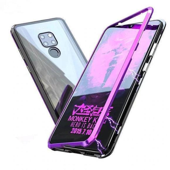 Luxury Hard Magnetic Metal Transparent Glass Protect Phone Case for HUAWEI Mate20/Pro/X/Lite