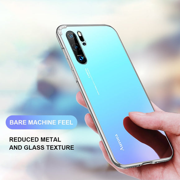Aurora color Tempered glass back phone case for Huawei P20 /P20 Pro