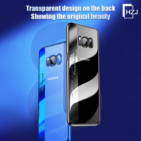 Samsung S10plus mobile phone shell creative new electroplating bright color transparent TPU soft shell 8 shatter-resistant protective cover for Samsung S7/S7 Edge / S8 / S7 / S7Edge / S8 / S8 Plus / S9 / S9 Plus / S10 / S10 E / S10 Plus / Note8/Note9