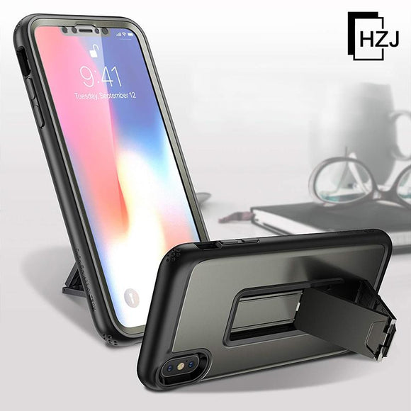 YOUMAKER Kickstand Case for iPhone Xs Max, Full Body with Built-in Screen Protector Heavy Duty Protection Shockproof Slim Fit Cover for All New Apple iPhone Xr  Xs Max