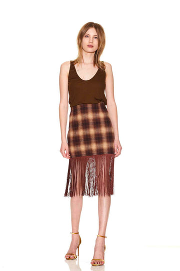 Darlene Fringe Skirt - Walnut