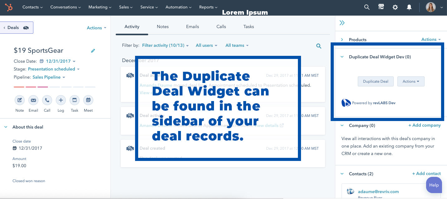 RevLabs Hubspot Duplicate Deal Preview
