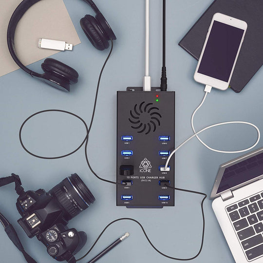 Charge and Sync up to 10 devices at the same time with the help of iCONE 2.o USB HUB!