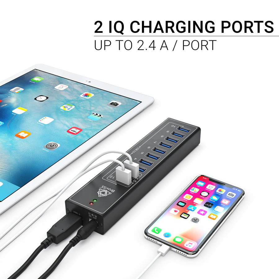 10-Port Powered USB 3.0 Hub with 2 IQ Ports - USB 3.0 Splitter with 12V 3A Adapter
