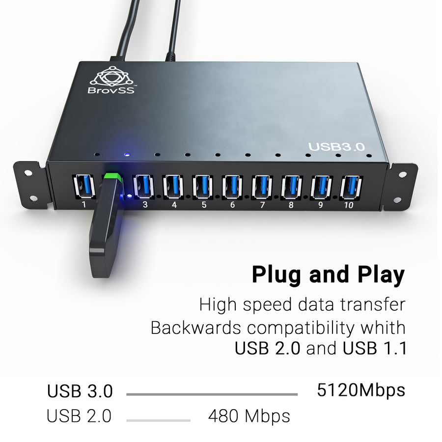 10 Port Powered USB 3.0 Hub Aluminum - USB Hub Charger - Multiple Port Splitter Hub with 12V 5A 60W Power Adapter by BrovSS