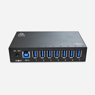 7 Port USB 3 Splitter - USB 3.0 Powered Hub - USB Hub Charger with 12V 3A 36W Power Adapter