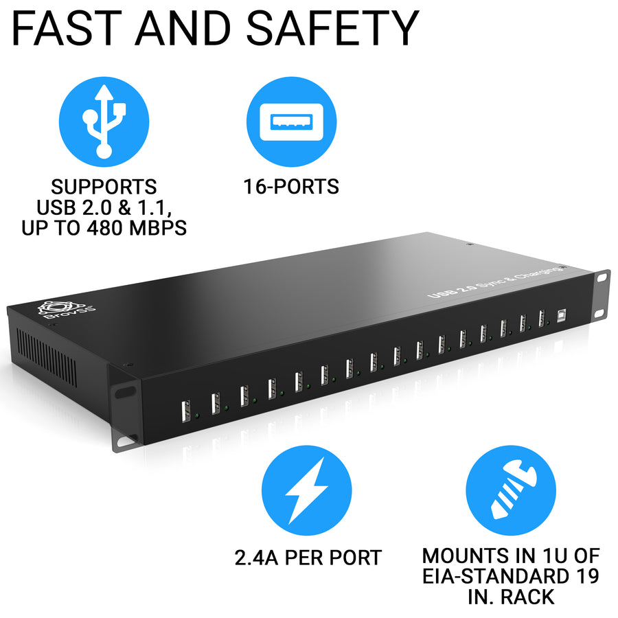 16-port USB 2.0 Hub 200W Multiple USB Port Hub - USB Charging Splitter 5V 40A