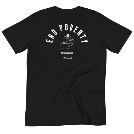 Goal 1 No Poverty Black T-Shirt from makusudi and Kevue.com
