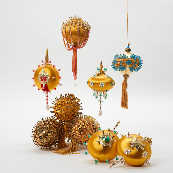Vintage Beaded Yellow Ornaments - Field Guide