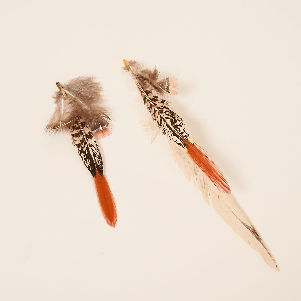 Multi-color pheasant and chicken feather ornaments. Cruelty free.