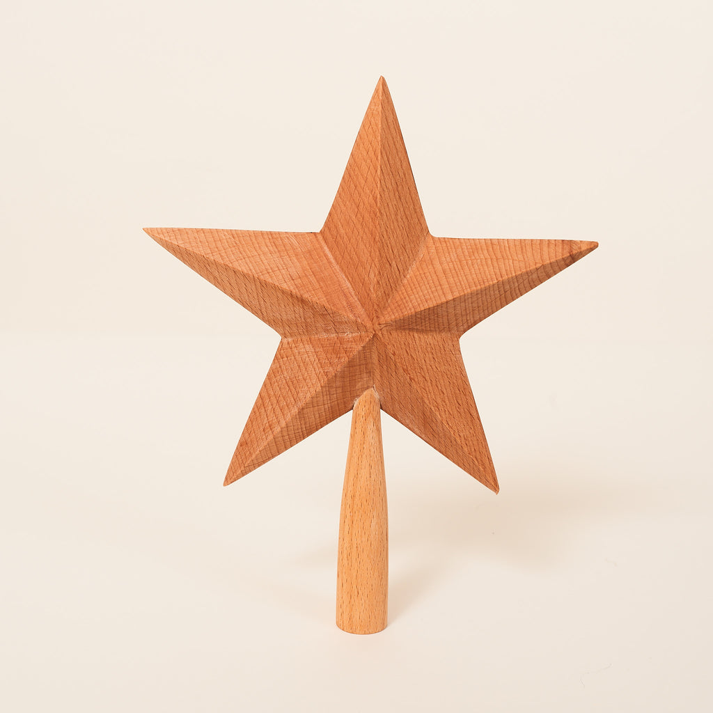 Star tree topper made from raw beechwood. Made by Sir Madam.