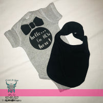 NEW HERE ONESIE & BIB SET