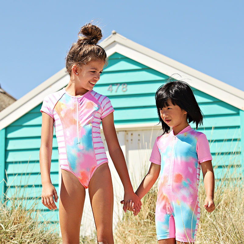 Short Sleeve Zip One Piece - Tie Dye Love Junior