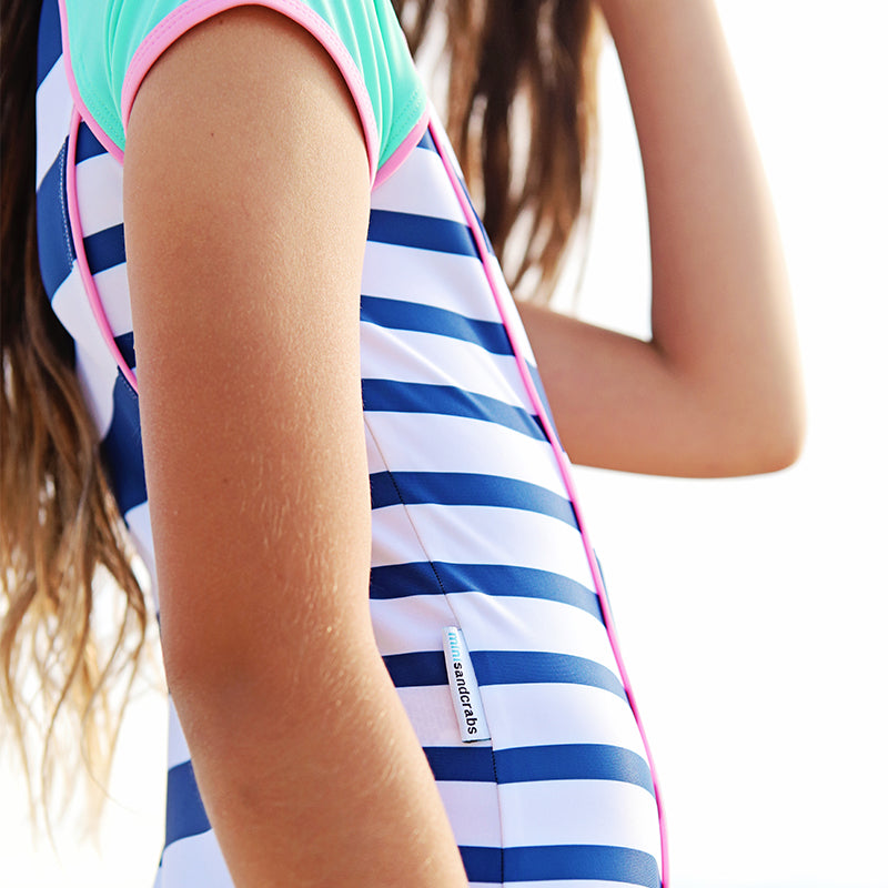 Short Sleeve Zip One Piece - Girls Sport Junior