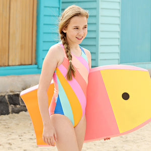 Sporty Zip One Piece Swimsuit - Offbeat Rainbow Senior