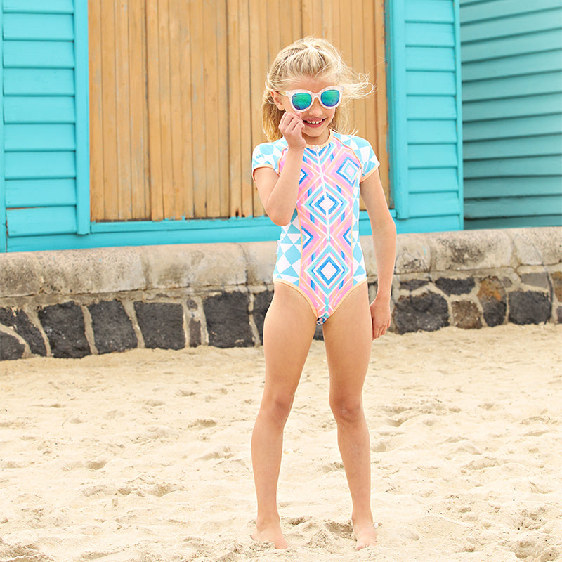 Short Sleeve Zip One Piece - Beach Tribe Junior
