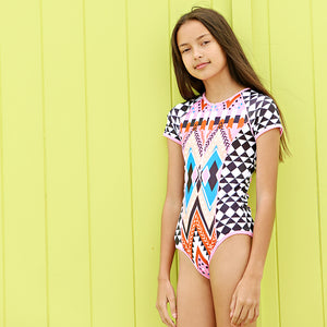 Short Sleeve Zip One Piece - Beach Tribe Senior