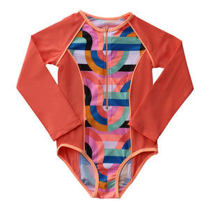 Long Sleeve Zip One Piece - Offbeat Rainbow Senior