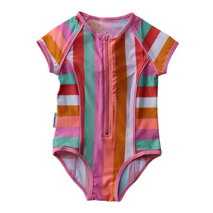 Short Sleeve Zip One Piece - Offbeat Rainbow Junior