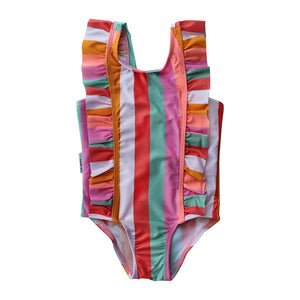 Ruffle One Piece Swimsuit - Offbeat Rainbow Junior