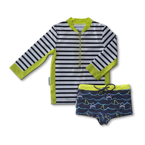 Long Sleeve Zip Rashie - Shark Mania Junior