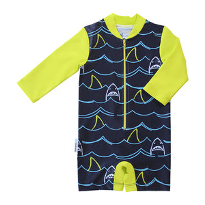 Long Sleeve Sunsuit - Shark Mania