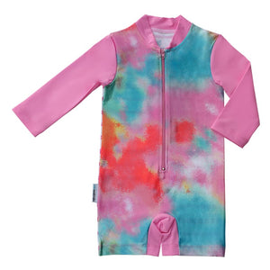 Long Sleeve Sunsuit - Tie Dye Love