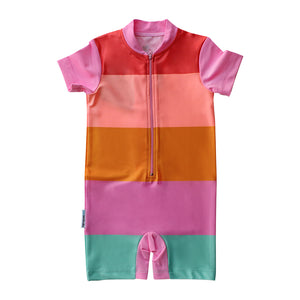 Short Sleeve Sunsuit - Offbeat Rainbow
