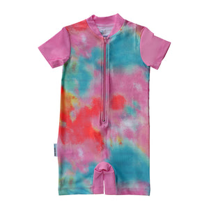 Short Sleeve Sunsuit - Tie Dye Love
