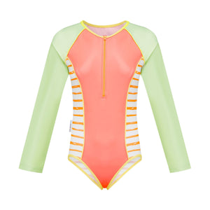 Long Sleeve Zip One Piece - Retro Vibes Girls Senior