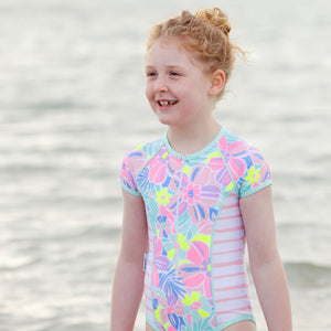 Short Sleeve Zip One Piece - Island Life Girls Junior