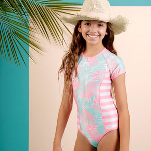 Short Sleeve Zip One Piece - Island Life Girls Senior