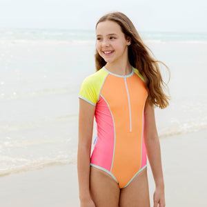 Short Sleeve Zip One Piece - Retro Vibes Girls Senior