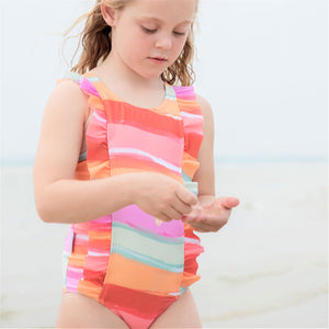 Ruffle One Piece Swimsuit - Retro Vibes Girls Junior