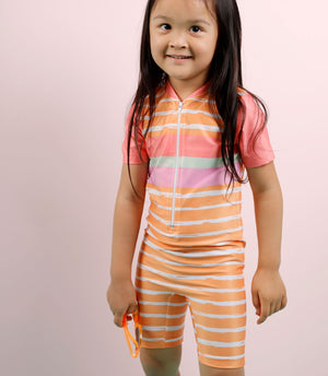 Short Sleeve Sunsuit - Girls Retro Vibes