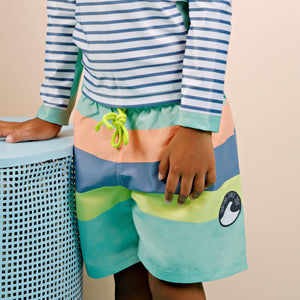 Mid Length Boardshorts - Boys Retro Vibes Junior