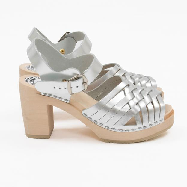 Silver braided sandal