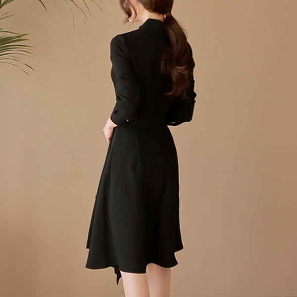 Elegant Black Stand Collar Long Sleeve Tie Asymmetrical A-Line Dress